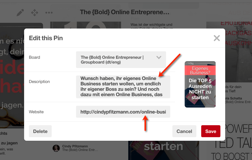 Pinterest Pin Setting